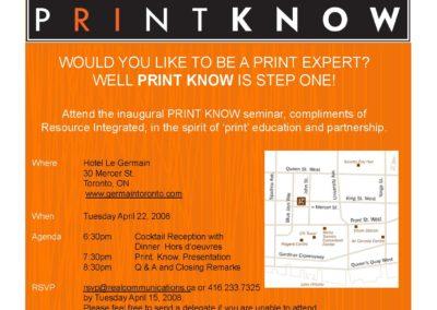 Print Know Seminar – Toronto
